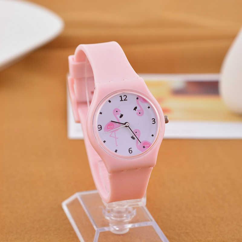 fa2a7df53865 Новые Силиконовые Конфеты Желе Цвет студент часы девушки часы моды часы  Flamingo ...