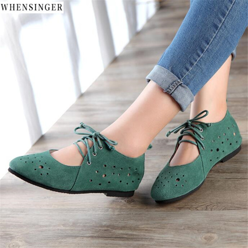 Whensinger - Women Flat Shoes loafers Genuine Leather Casual Bandages ballet Vintage Breathable Flats Shoe imc vintage women flat shoes white us4 eur35 length 22 5cm