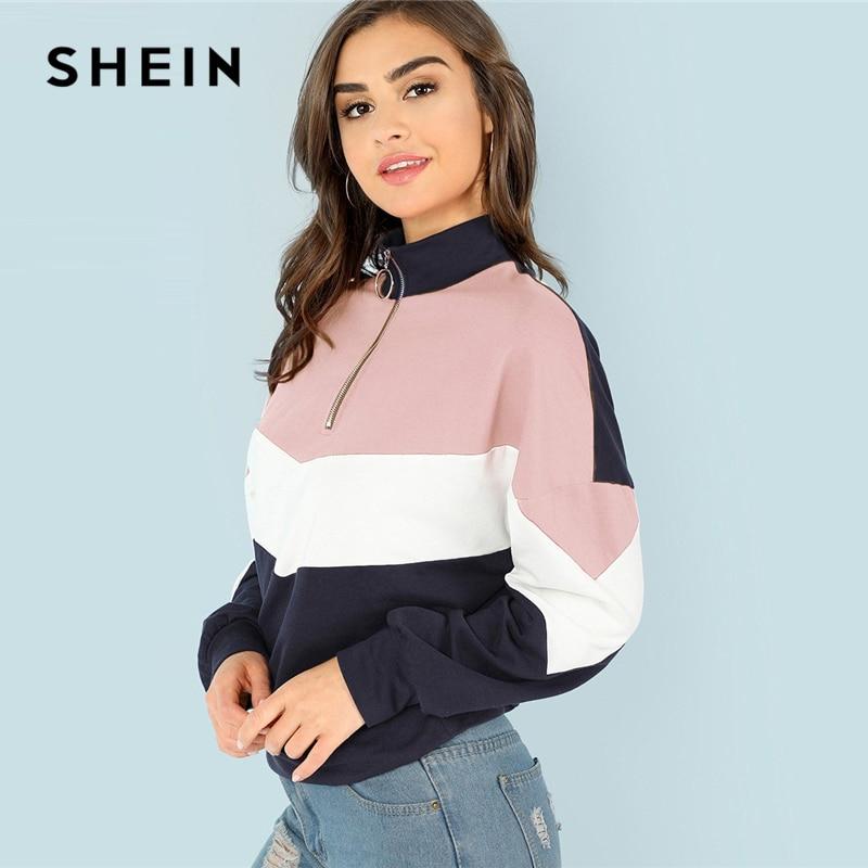 SHEIN Multicolor O-Ring Zip Vorder Cut und Nähen Sweatshirt Freizeitsport Stehkragen Raglan Ärmel Sweatshirt Frauen Herbst Pullover
