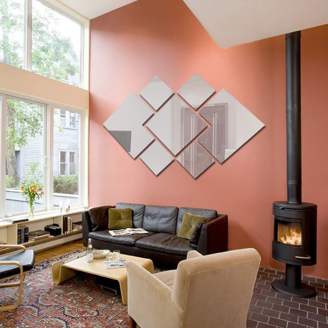 1 set diamant forme 3d acrylique diy miroir sticker mural décor à la maison salon chambre