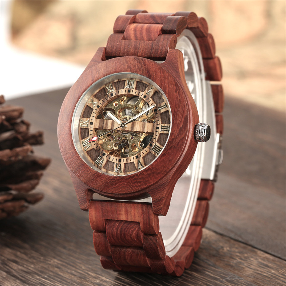 Luxury Red Wood Watch Mechanical Self Winding Wooden Watches Creative Unique Automatic Timepiece Men Watch reloj masculino(China)