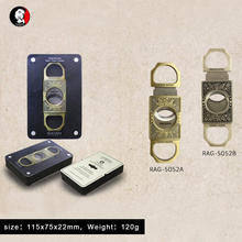 Guevara Stainless Steel Cigar Cutter Antique Retro color Double Guillotine Blade for High-end gifts