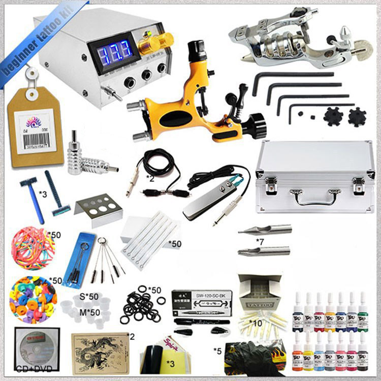 1 Sets High quality Complete 2 Tattoo Rotray Gun Machine Equipment +Pigment +Power Supply +Needle+ CD for Beginners Body Art #F p80 panasonic super high cost complete air cutter torches torch head body straigh machine arc starting 12foot