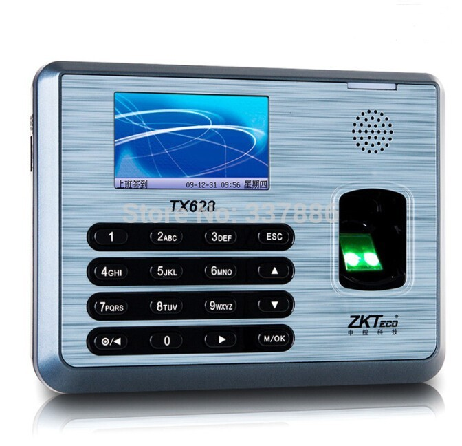 ZK software fingerprint time attendance TX628 3 inch tft color screen display tcp ip usb time recorder machine zk tx628 3 inch color screen new tx628 id 125khz tcp ip rs232 485 biometric fingerprint time attendance recorder time clock sdk