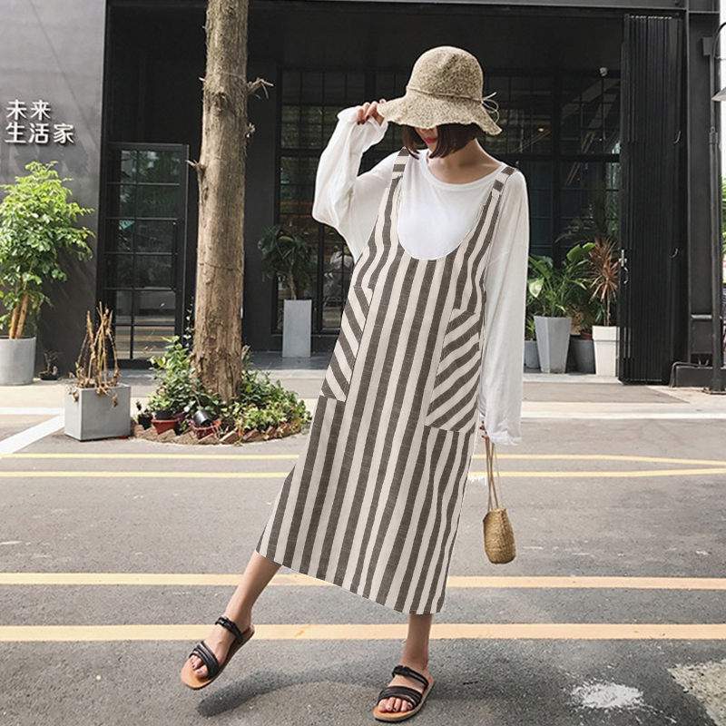 2018 ZANZEA Summer Women Striped Strappy Sleeveless Loose Backless Pockets Dungarees Party Vestido Suspender Dress Plus Size