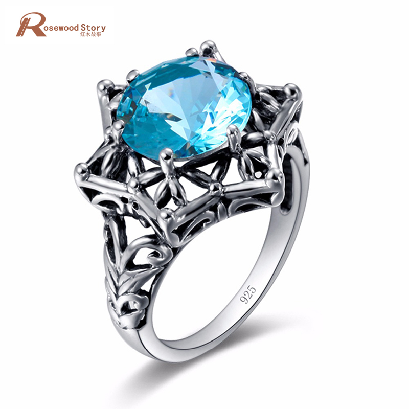 Female Geometric Skull Charms Ring Blue Stone CZ Vintage Wedding Rings For Women Fashion Jewelry 925 Sterling Silver Ring