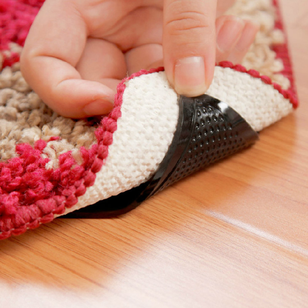 Hot 4Pcs Rug Carpet Mat Grippers Non Slip Anti Skid Reusable Silicone Grip Pads New