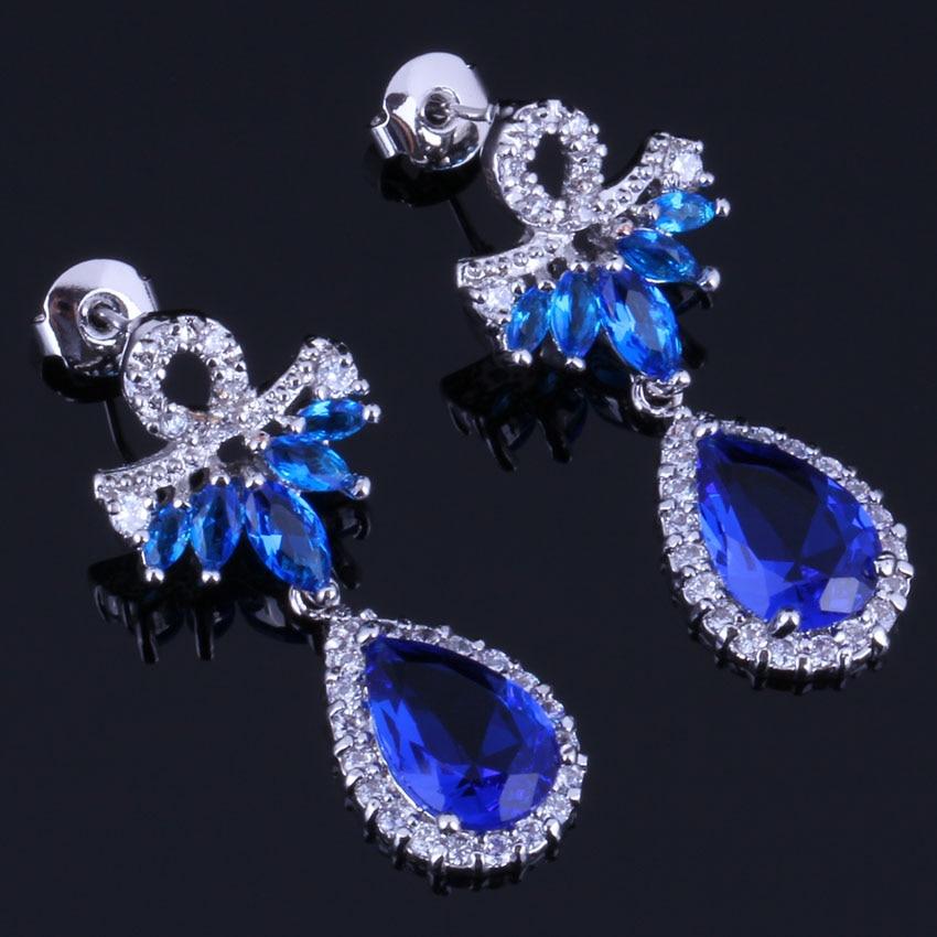 Exclusive Water Drop Blue Cubic Zirconia White CZ 925 Sterling Silver Drop Dangle Earrings For Women V0710 in Drop Earrings from Jewelry Accessories