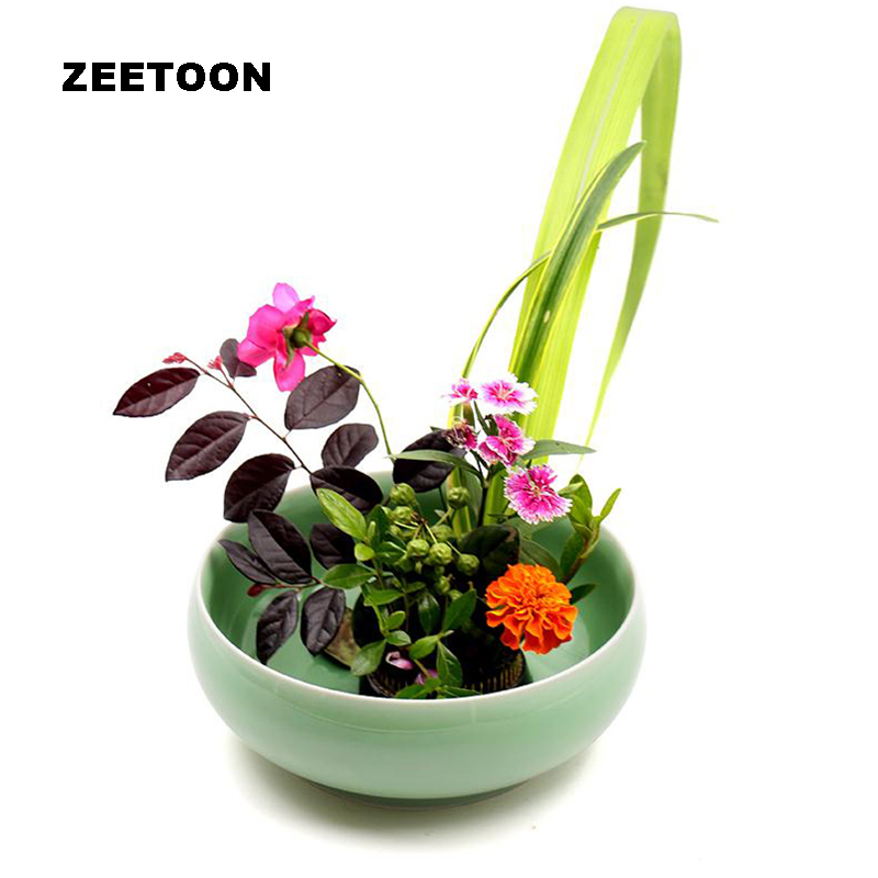 Japanese style celadon flower arrangement pot ikebana for Japanese style plants