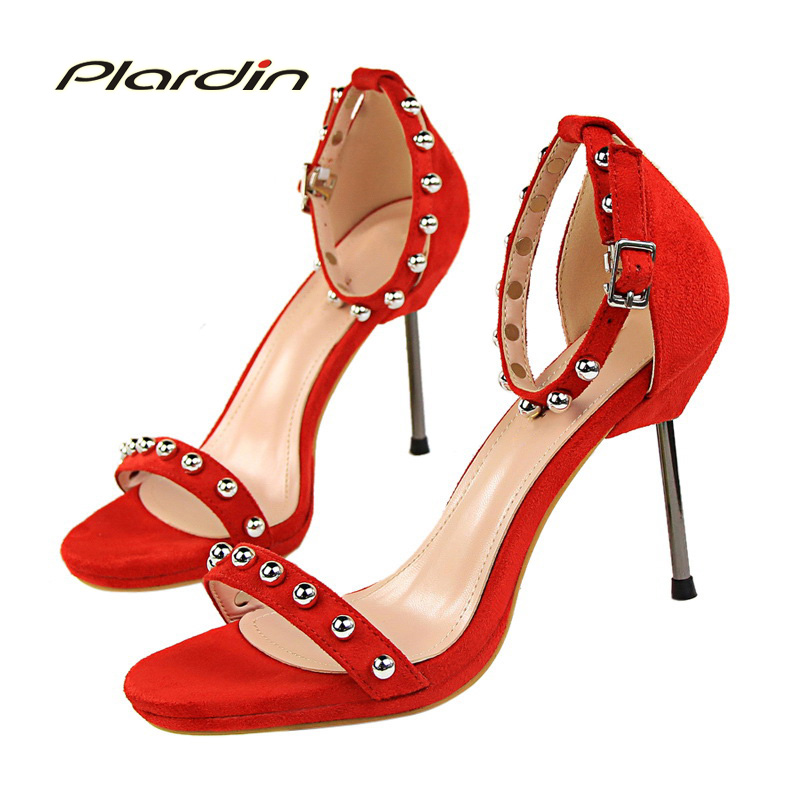 plardin 2017 Summer Sexy Fashion Shoes Woman Ankle Strap Metal Decoration Bead Buckle Strap Women Party Thin High Heel Pumps кухонный угловой диван дублин