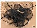 Бесплатная Доставка Продажа черный сотовый чистое лицо вуаль чародей перо цветок волос Свадебные Головные Уборы