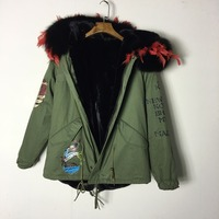 Newest style khkai short parka with pattern top brand jacket winter warm fake fur lined plus size design