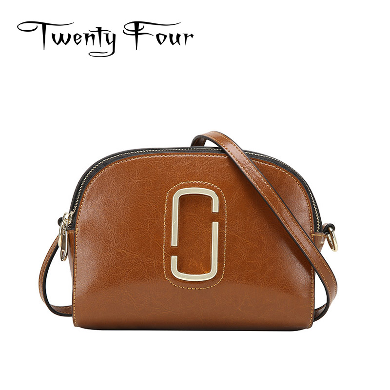 Twenty-four Women Shell Bags Genuine Leather With Clip Metal Solid Leather Shoulder Ladies Cross Body Bags Fashion Style Shell twenty four women brand flap bags natural genuine leather handbags with chain solid color cover small bags young cross body bags