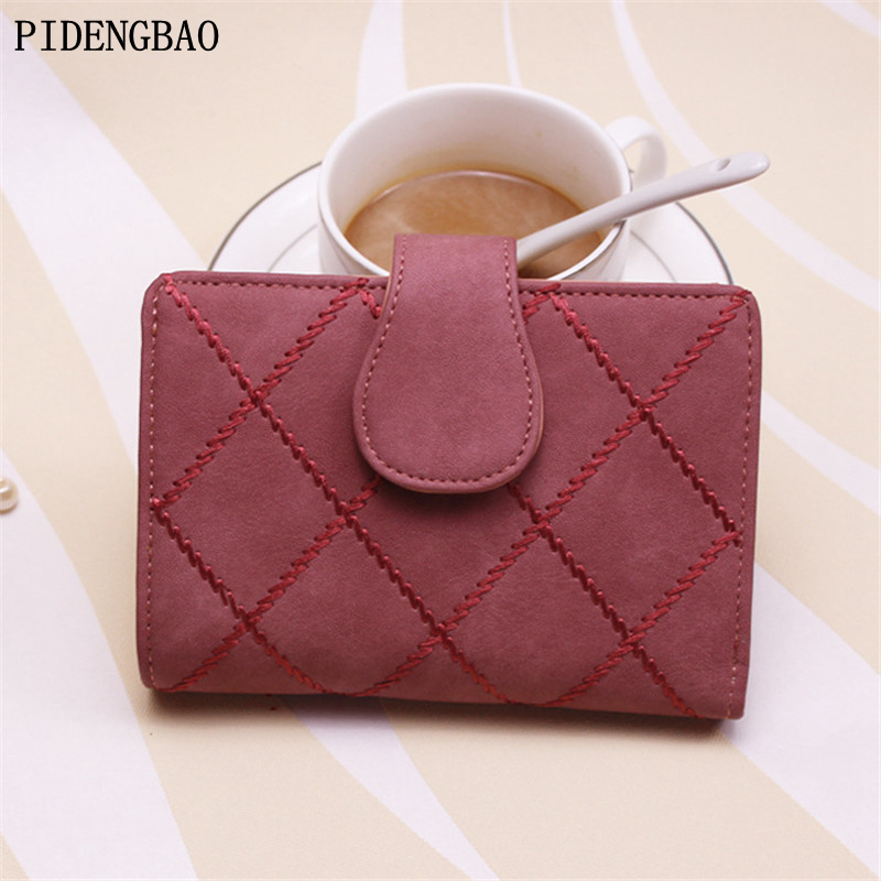 PIDENGBAO Fashion short Car suture PU Solid Wallet Women Buckle Wallets Female Hasp Bag Ladies Letter