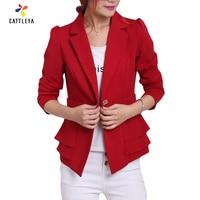 Women Short Length Blazers 2016 Autumn New Fashion Female Slim Solid Color Full Length Sleeve Single