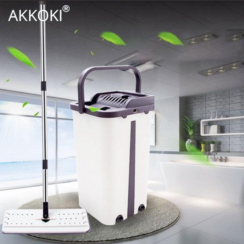 Vadrouille magique automatique avec seau main libre lavage microfibre chiffon de nettoyage maison cuisine plancher en bois paresseux nettoyant outils