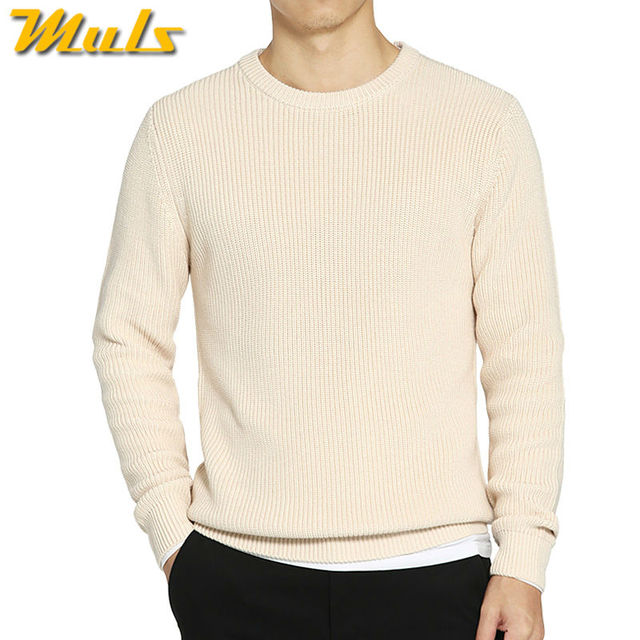 08d3b1749 Muls thick knit pullover men sweater O neck cotton acrylic jersey ...