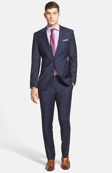 New Arrivals Two Buttons Dark Blue Groom Tuxedos Peak Lapel Groomsmen Best Man Suits Mens Wedding Suits (Jacket+Pants)