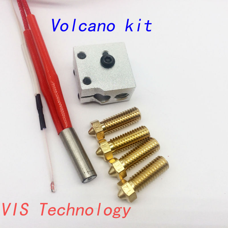 Volcano hotend eruption pack kit heater block+nozzle pack for 3D Printer filament 1.75/3 mm