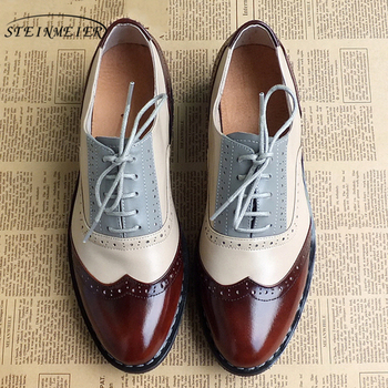 Женские оксфорды из натуральной кожи, женская обувь на плоской подошве, броги, зимние винтажные Лоферы ручной работы на шнурках, повседневн...