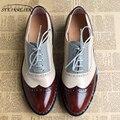 Женские туфли-оксфорды на плоской подошве  весенние туфли из натуральной кожи на плоской подошве  летние броги  винтажные лоферы на шнурках ...