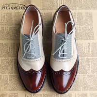 Donne oxford Piatte scarpe primavera per la donna appartamenti del cuoio genuino di estate brogue vintage lacci mocassini scarpe da tennis scarpe casual 2020