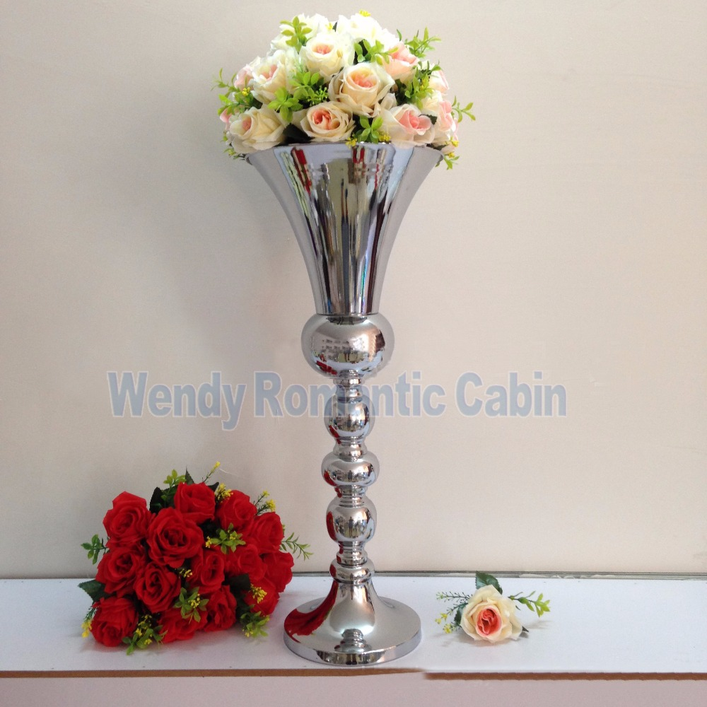 63cm tall wedding flower vase silver metal flower stand table 63cm tall wedding flower vase silver metal flower stand table centerpiece wedding decoration 10pcslot in vases from home garden on aliexpress izmirmasajfo Images