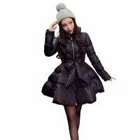 Новое поступление с бантом талии пышная юбка теплое пальто парки для женщин зимой женщины вниз и парки 2016 длиной куртки женские зимняя курт...