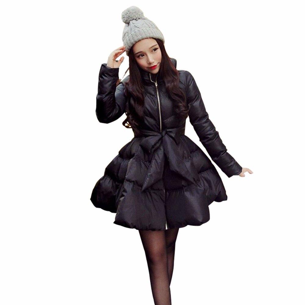 Kabát női nők keverék kabát 2018 új íj derék bolyhos szoknya kabát kabát a nők téli kabát le és parkas hosszú A1