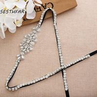 Rhinestones Bridal Belt Silver 35.82In Crystal Wedding Belt With Pearls Ribbons Bridal Sash For Wedding Dress J192S