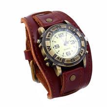 Винтаж Для женщин Для мужчин панк Искусственная Кожа Круглый циферблат Кварц Браслет наручные часы