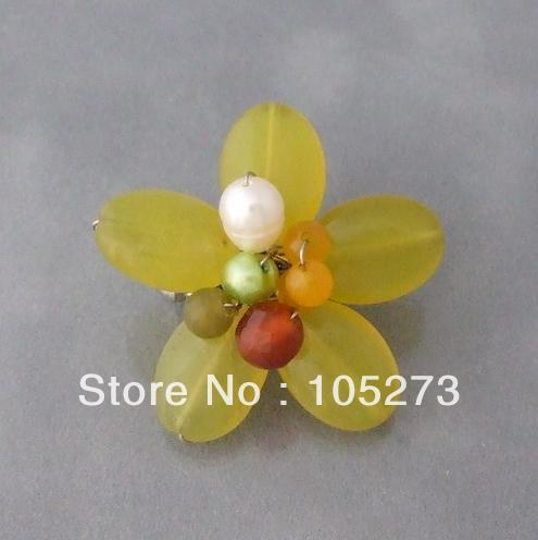 все цены на New Arriver Gem Stone Flower Jewelry Pearl Crystal Adorable Lime Green Quartz Floral Serenity Pin Brooch Top Quality