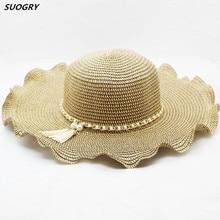 SUOGRY Women Straw Sun Hat Female Summer Beach Hat Brand Sombrero Sun Visor Brim pearl Wave Ladies Hat tassel Chapeau Femme catalog sun wave