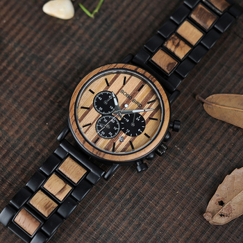 BOBO BIRD Men's Luxury Stylish Chronograph Wooden Quartz Watches 1