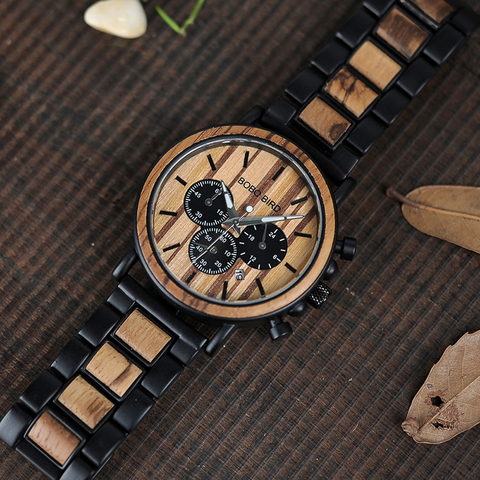 BOBO BIRD Wooden Watch Men erkek kol saati Luxury Stylish Wood Timepieces Chronograph Military Quartz Watches in Wood Gift Box Lahore