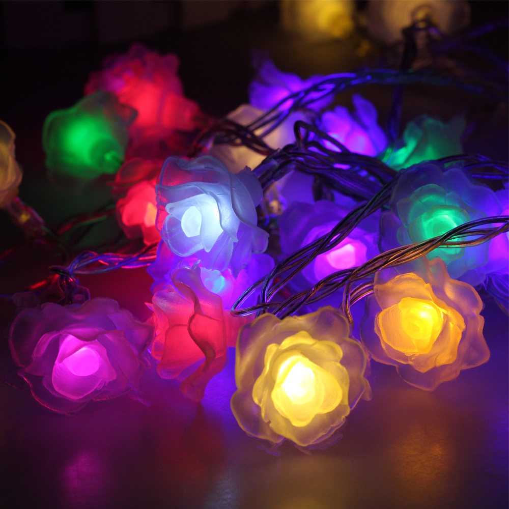 Rose Flower LED Fairy String Lights USB 5V/ Battery Powered / 220V Wedding Decoration Lights