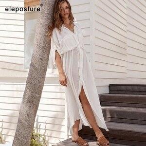 Image 1 - 2020 New Sexy Beach Cover Up Costume Da Bagno Bianco Con Scollo A V Vestito Dalla Spiaggia Maniche Lunghe Tuniche Bikini Delle Donne Costumi Da Bagno Costume Da Bagno prendisole e Camicioni