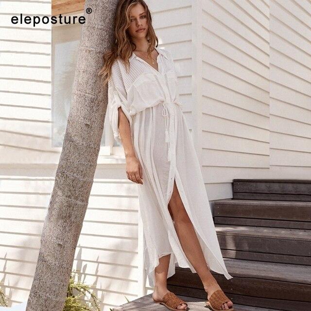 2020 New Sexy Beach Cover Up Costume Da Bagno Bianco Con Scollo A V Vestito Dalla Spiaggia Maniche Lunghe Tuniche Bikini Delle Donne Costumi Da Bagno Costume Da Bagno prendisole e Camicioni