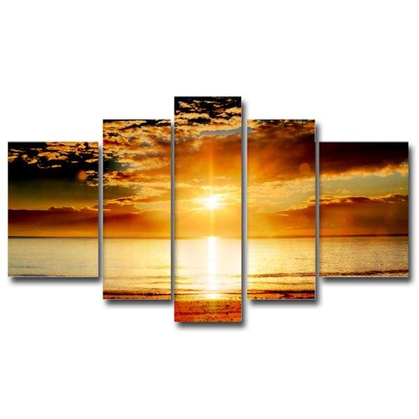 Leinwand für Hauptdekoration, 5 panels Sonnenuntergang Meer Malerei Wandkunst-High Definition (Ungerahmt)