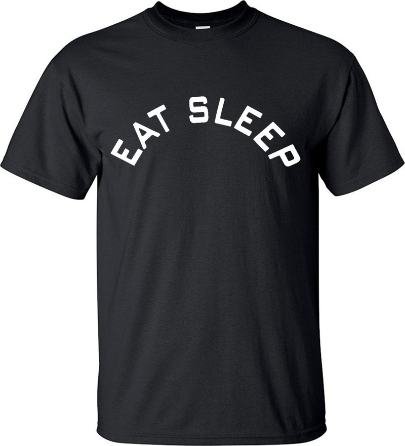 Summer Short Sleeve Eat Sleep Repeat English Alphabet Mens Tees Mens T Shirt