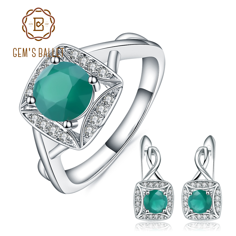 GEM S BALLET Classic Natural Green Agate Earrings Ring Set Real 925 Sterling Silver Jewelry Set