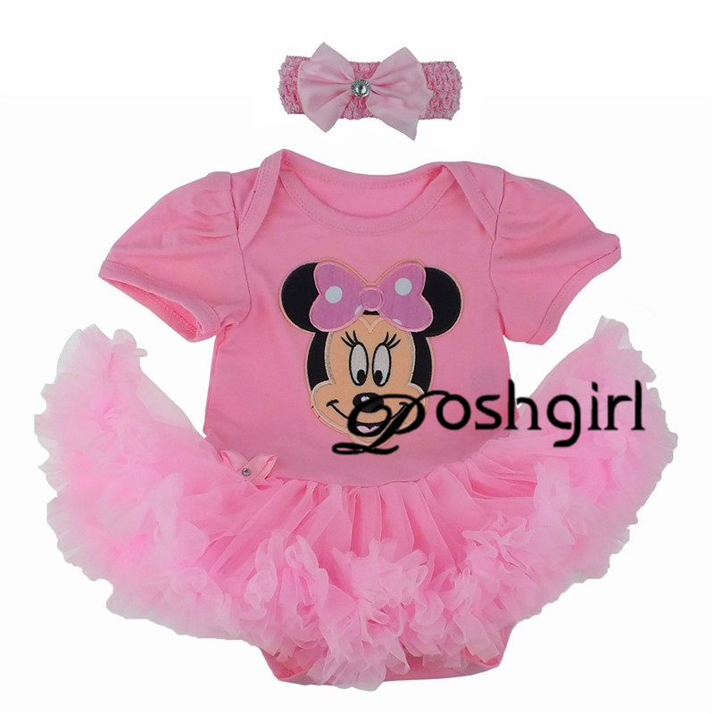 Summer Pink Baby Jumpsuit Minnie Mouse Pettiskirt & Headband Set Infant Baby Gift Valentine Birthday Girls Outfit Set NB-24Month pink lala doll top light hot pink ruffle bow petal pettiskirt baby girl outfit set nb 8y mapsa0005