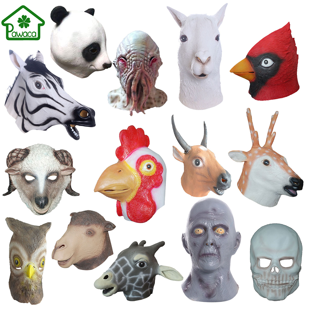 Naturel Latex Animal Alpaga Buffalo Zodiac Coq Sika Cerf Panda Pieuvre Hibou Effrayant Masque Cosplay Halloween Partie Masque De Mascarade