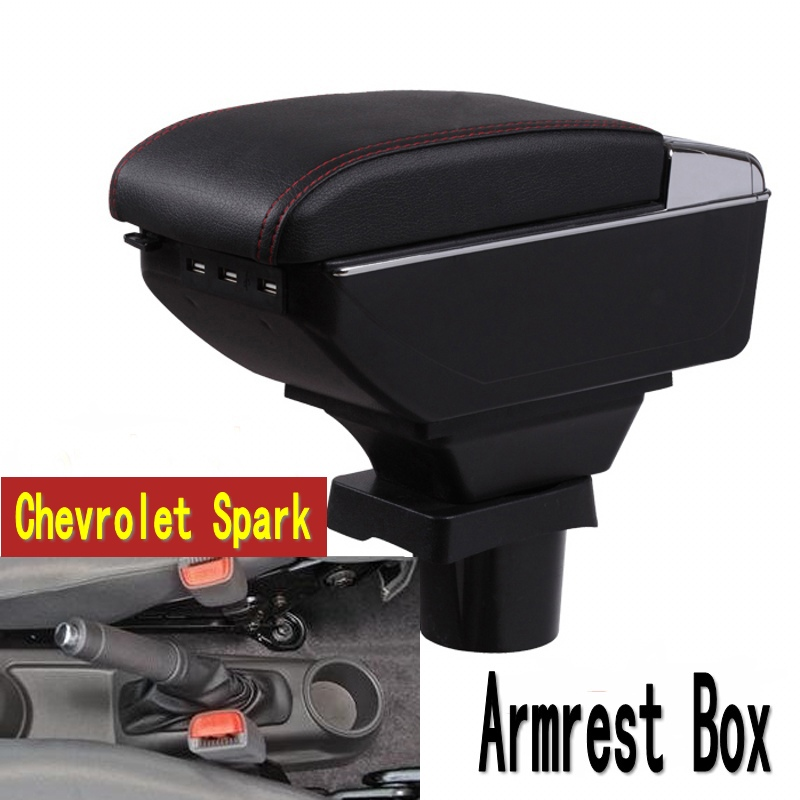 Pour Spark boîte accoudoir central Magasin contenu De Stockage boîte Chevrolet accoudoir boîte avec porte-gobelet cendrier USB interface