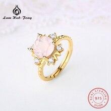 цена Luxury 925 Sterling Silver Natural Stone Ring Inlay Lemon Powder Crystal Topaz Zircon Wedding Engagement Ring for Women онлайн в 2017 году
