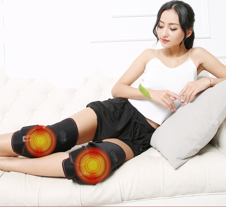 цена Hot compress old cold leg knee physiotherapy instrument heating beating kneading vibrating knee massager rechargeable 6000MA