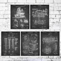 Wood Stretched Canvas Paniting 8x10 Locomotive Train Coupler Steam Engine Light Vintage Patent Chalkboard Art 5