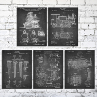 wood stretched canvas paniting 8x10 locomotive train coupler steam engine light Vintage patent chalkboard art 5 pcs in 1