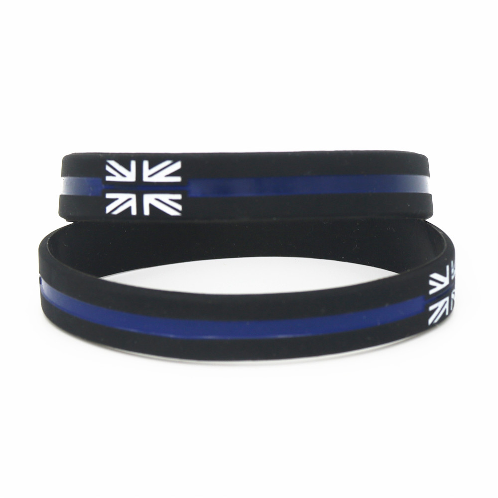 50PCS New Black Blue Vintage England Flag Silicone Wristbands THE Britain Charity UK Silicone Bracelets &Bangles Gifts SH189 image