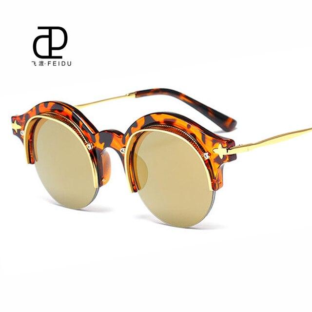 09833b5e8e2f2 FEIDU Steampunk óculos de Sol Protegem Os Olhos Marca de Luxo Designer de  Templos de Metal